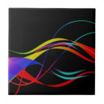 Abstract Colorful Lines and Waves Pattern Ceramic Tile