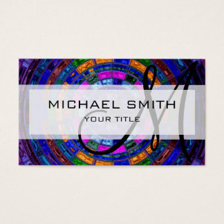 Abstract Colorful Mosaic Pattern Monogram #10 Business Card