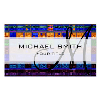 Abstract Colorful Mosaic Pattern Monogram Business Card