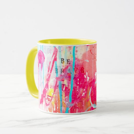 Abstract Colorful Paint Splatter Bright Pink Aqua Mug