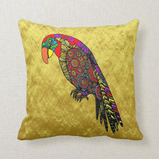 Abstract colorful Parrots in yellow red green blue Throw Pillow