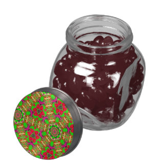 Abstract colorful pattern glass candy jars
