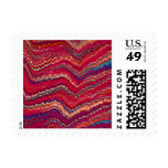 Abstract colorful pattern prints postage stamps