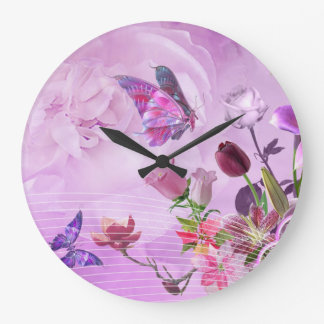 Abstract Colorful Pink Purple Cute Butterfly Large Clock
