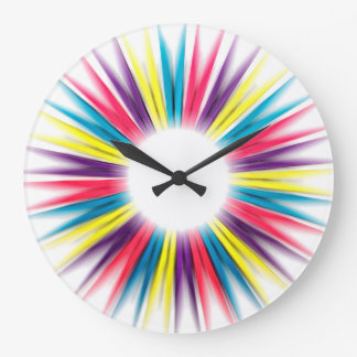 Abstract Colorful Rainbow Sun Pegs Clock