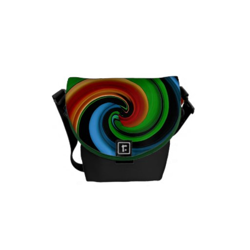 Abstract Colorful Rainbow Swirls Messenger Bag-SM Courier Bags
