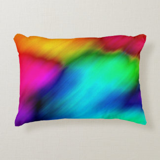 Abstract Colorful Rainbow Tie Dye Accent Pillow