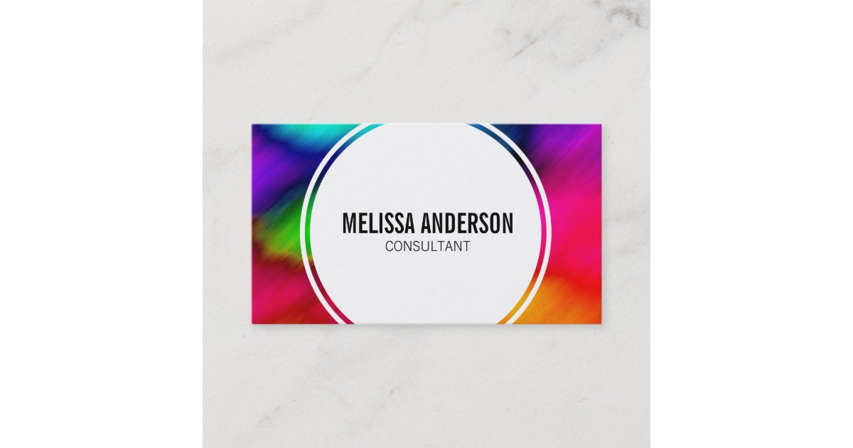 abstract colorful rainbow tie dye business cards