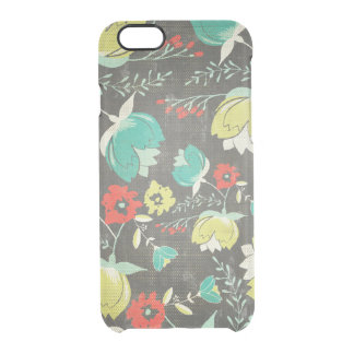 Abstract Colorful Retro Flowers Pattern Clear iPhone 6/6S Case