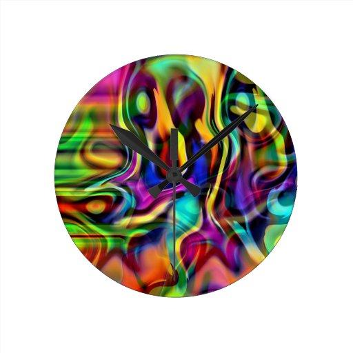 Abstract Colorful Smoke Wall Clock