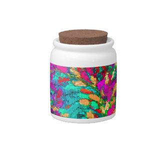 ABSTRACT COLORFUL SPLASH GEOMETRIC ART PATTERN CANDY DISH