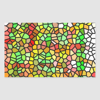 Abstract colorful stained glass rectangular sticker