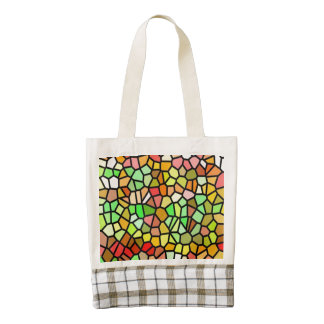 Abstract colorful stained glass zazzle HEART tote bag