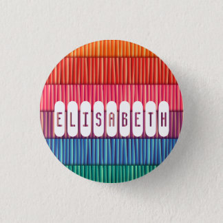 Abstract colorful stripes pattern name pinback button