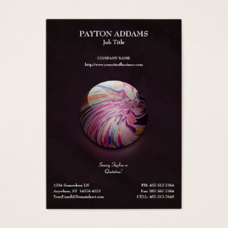 Abstract, colorful swirl and stripe shiny marble business card