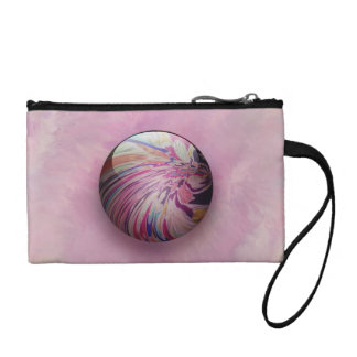 Abstract, colorful swirl and stripe shiny marble coin purse