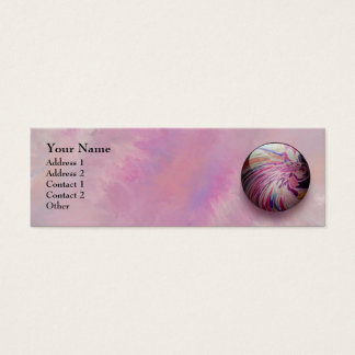 Abstract, colorful swirl and stripe shiny marble mini business card
