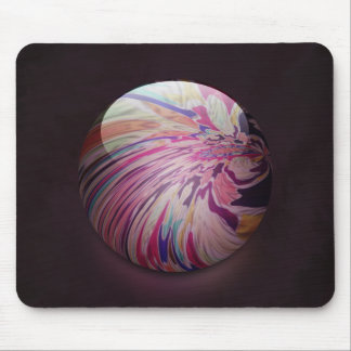 Abstract, colorful swirl and stripe shiny marble mouse pad