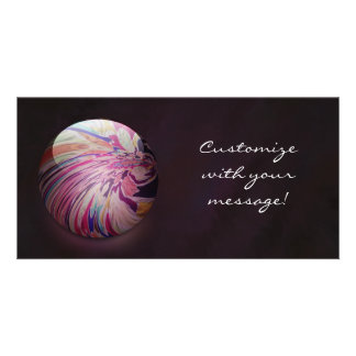 Abstract colorful swirl and stripe shiny marble photo greeting card