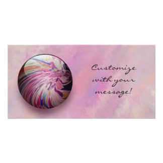 Abstract colorful swirl and stripe shiny marble custom photo card