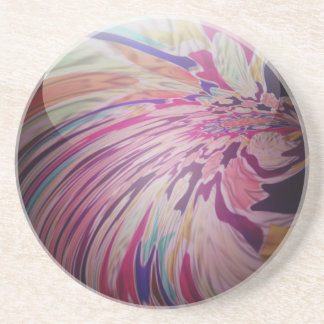 Abstract, colorful swirl and stripe shiny marble sandstone coaster