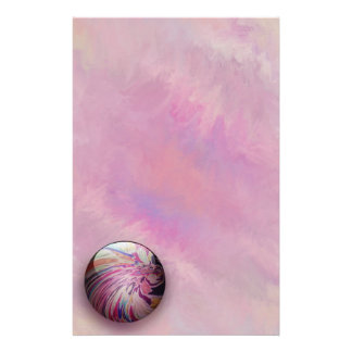 Abstract, colorful swirl and stripe shiny marble stationery