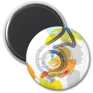 Abstract Colorful trumpet 2 Inch Round Magnet