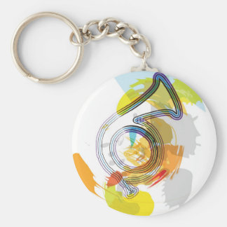 Abstract Colorful trumpet Basic Round Button Keychain