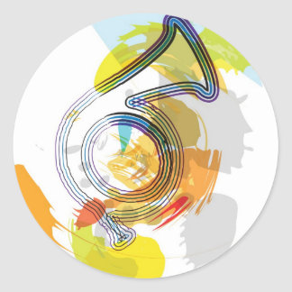 Abstract Colorful trumpet Classic Round Sticker