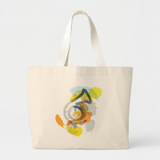 Abstract Colorful trumpet Large Tote Bag