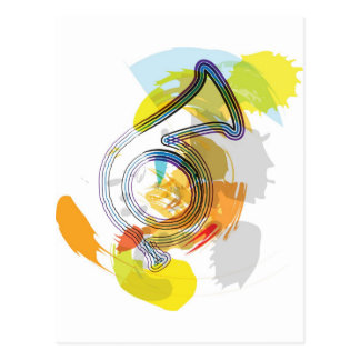 Abstract Colorful trumpet Postcard