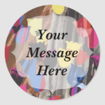 Abstract Colorful Tulips Classic Round Sticker