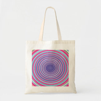 Abstract Colorful TWIRLING SPIRAL OPTICAL ILLUSION Budget Tote Bag