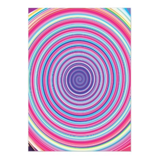 Abstract Colorful TWIRLING SPIRAL OPTICAL ILLUSION Card