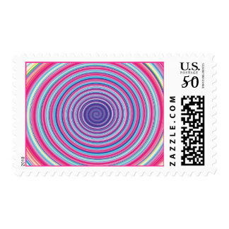 Abstract Colorful TWIRLING SPIRAL OPTICAL ILLUSION Postage