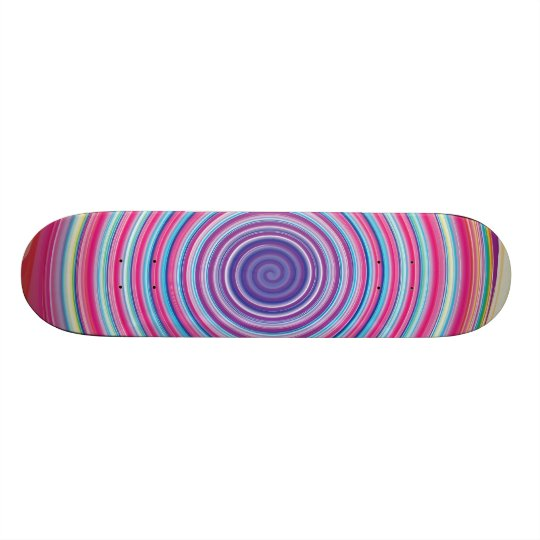 Abstract Colorful TWIRLING SPIRAL OPTICAL ILLUSION Skateboard Deck