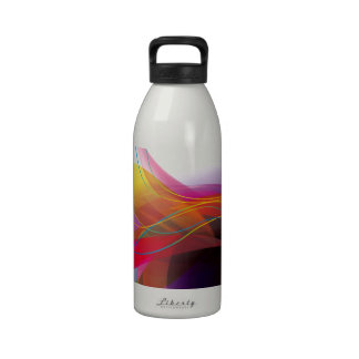 Abstract Colorful Wave Lines Background Vector DIG Water Bottle