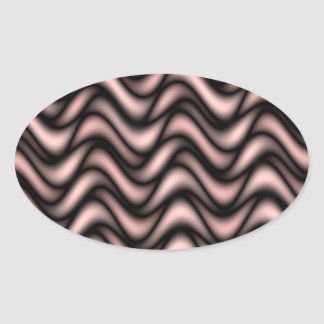 Abstract colorful waves oval sticker