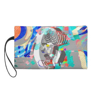 Abstract colorful zebra graphic-Bag Wristlet Clutches