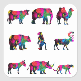 Abstract Colors Animals Sticker