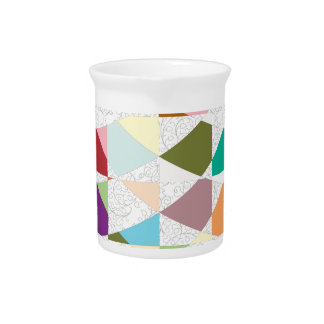 Abstract Colors Damask Beverage Pitcher