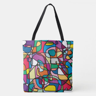 Abstract Colors Doodle Tote Bag (Large)