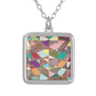 Abstract Colors Glitter Silver Plated Necklace