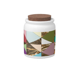 Abstract Colors Gold Foil Candy Dish