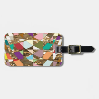 Abstract Colors Gold Foil Luggage Tag