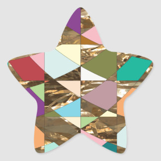 Abstract Colors Gold Foil Star Sticker