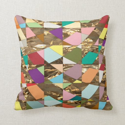 Throw Pillows Primary Colors : Abstract Colors Gold Foil Throw Pillows Zazzle