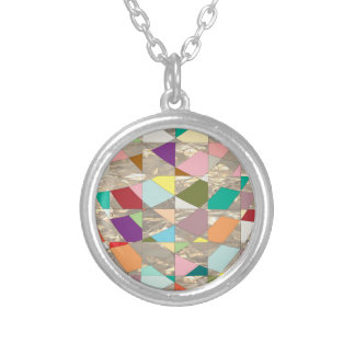 Abstract Colors Gold Silver Plated Necklace