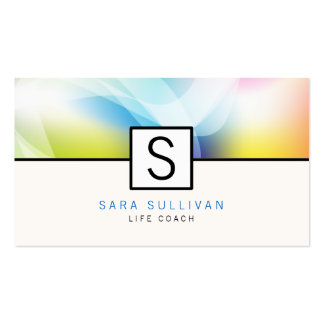 Abstract Colors Monogram Life Coach Business Card