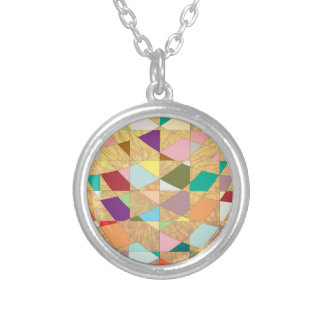Abstract Colors Sun Burst Round Pendant Necklace